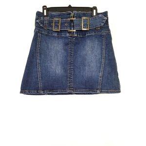 Cache Size 6 Denim Distressed Skirt